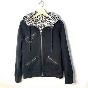 Leopard Black Volcom Moto Sz Med Hoodie Jacket